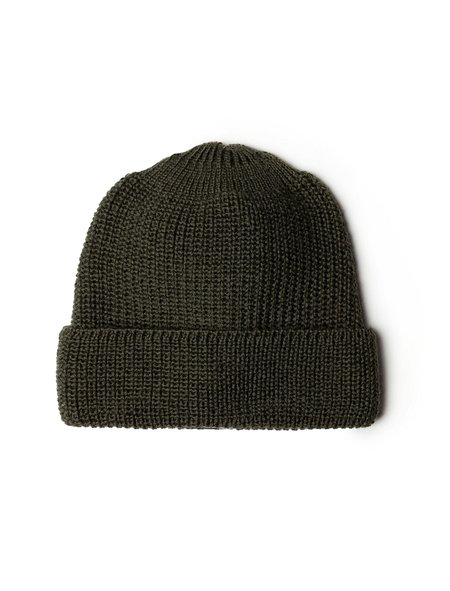 Neighbour Mens Pure Wool Knit Cap - Olive