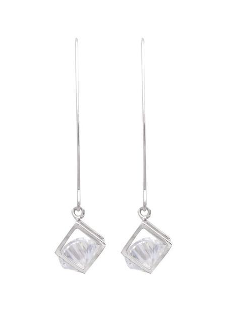 Sarah Mulder Long Bling Cube Earrings in Silver