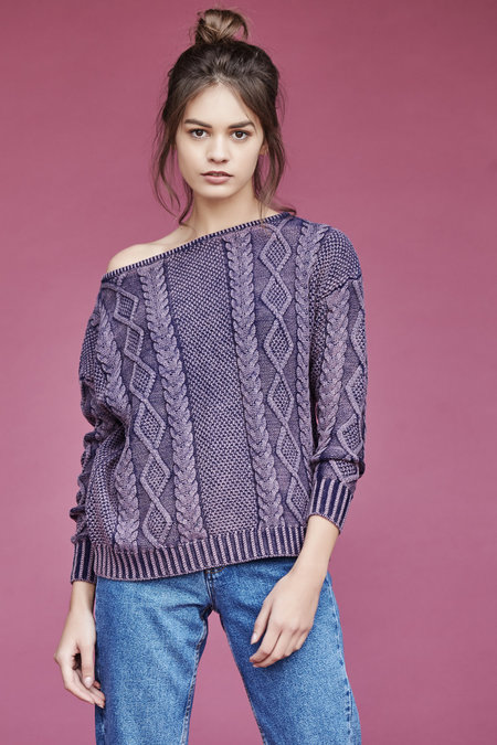 Callahan Enzyme Cableknit Off The Shoulder TOp