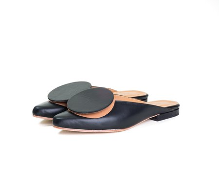 The Palatines phalera mule -  black nappa / smooth tan leather