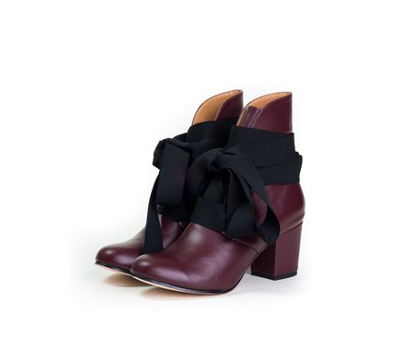 The Palatines satago ribbon boot -  chestnut nappa leather