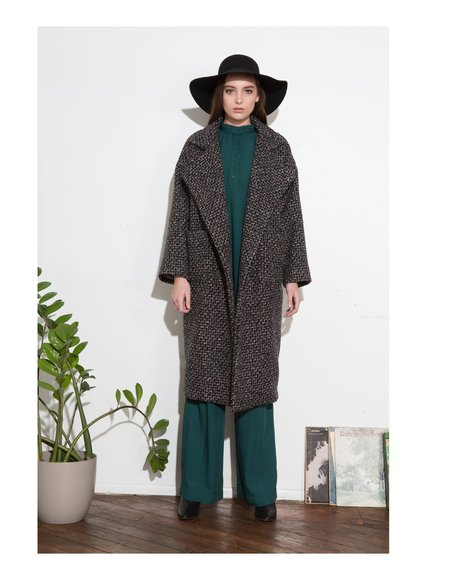 H. Fredriksson *F17 Tweed Kate Long Coat - Black/Pink