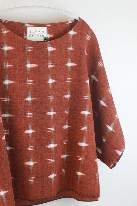 Susan Eastman Kimono Crop in Rust Ikat