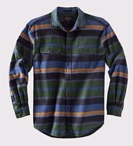 Pendleton - Camber Horizontal Stripe Shirt - Green/Blue Stripe