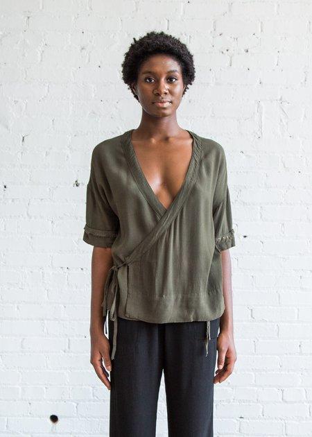 Raquel Allegra S/S Kimono - Olive Crepe