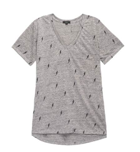 Rails Cara V-Neck T-shirt in Lightning Bolts