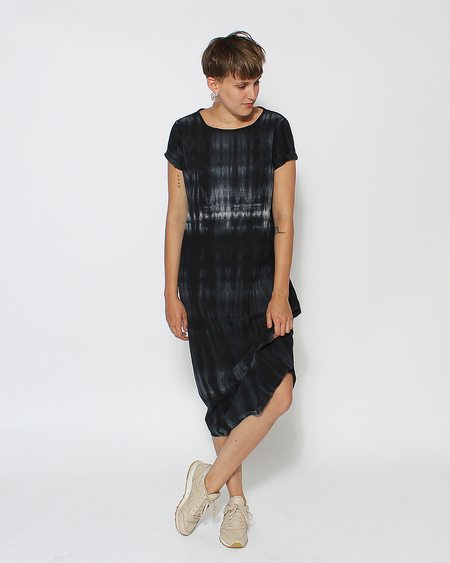 Uzi NYC Tee Dress in Navy Tie Dye