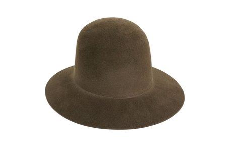 Clyde Short Brim Dome Hat in Dark Mink Angora