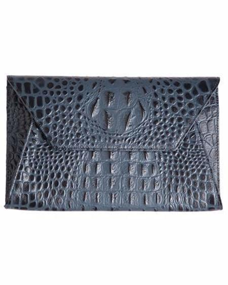 Oliveve Cleo Envelope Clutch In Navy Hornback Embossed Cow Leather