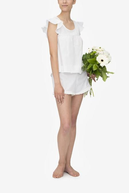 Monika Hibbs x The Sleep Shirt Ruffle Short White Linen Blend
