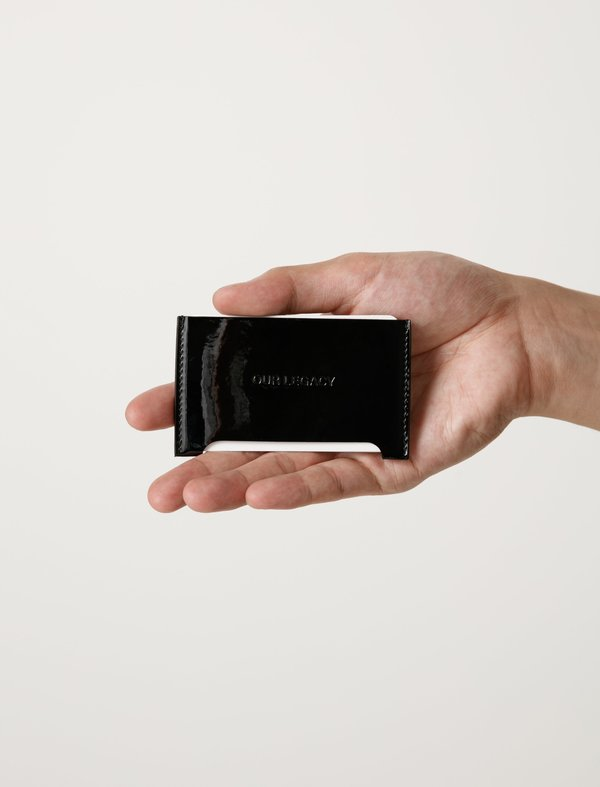 Our Legacy Mens Distortion Card Holder - Patent Black/Black