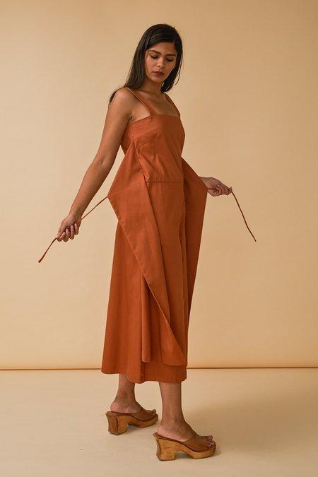 Wolcott : Takemoto Carol Jumpsuit in Tangerine Cotton Twill