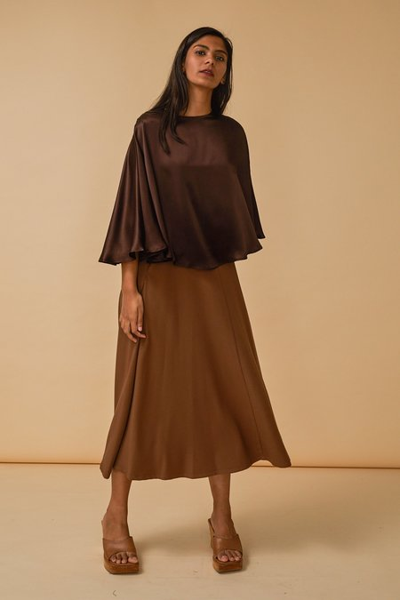 Wolcott : Takemoto Kepu Top in Clove Silk Charmeuse