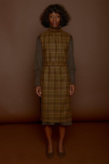 Wolcott : Takemoto Wayne Dicky Dress in Camel Plaid Merino Wool