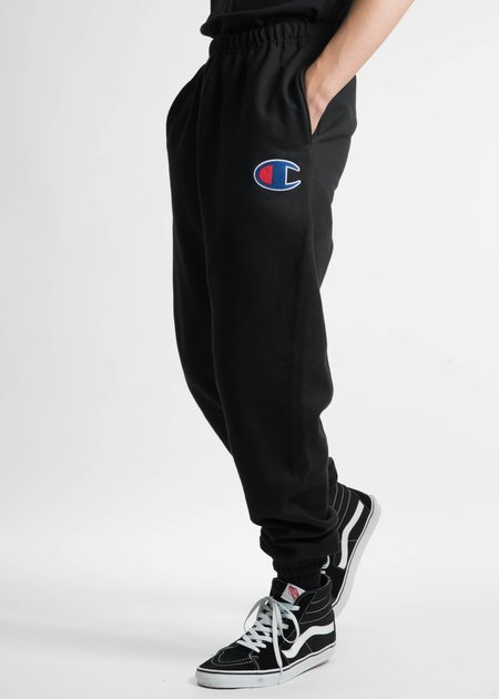 "Champion Reverse Weave Black Pants with Large ""C"" Logo"