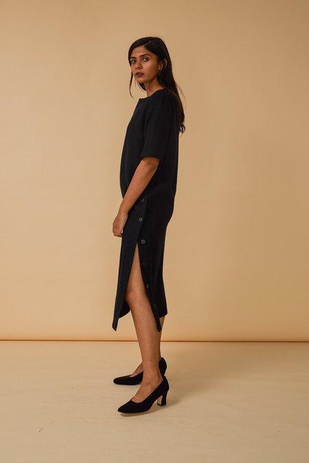 Wolcott : Takemoto Hamlet Dress in Navy Wool Flannel