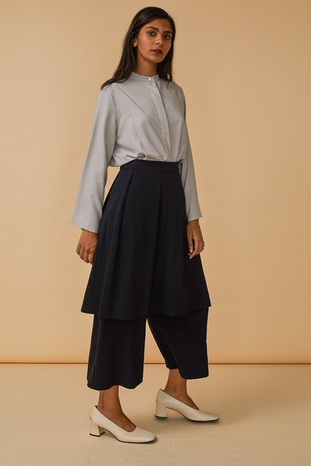 Wolcott : Takemoto Jane Skirt-Pant in Navy Georgette