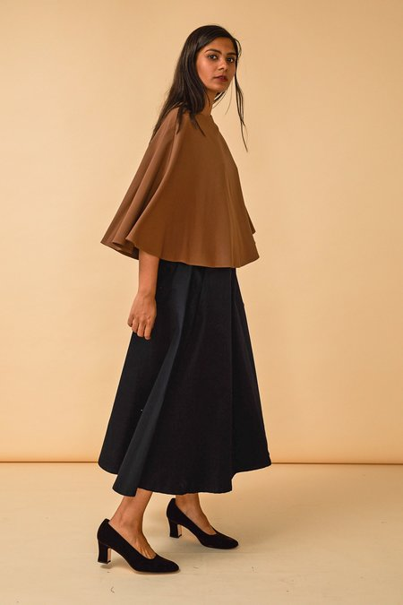 Wolcott : Takemoto Kepu Top in Camel Georgette