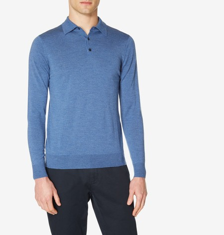 Sunspel Fine Merino Wool Long Sleeve Polo
