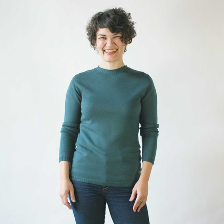 Erdaine Faith French Shoulder Sweater in Cyan