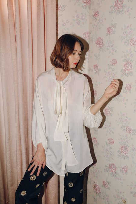 Suzanne Rae Tie Neck Blouse in White