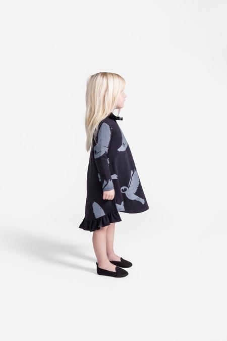 Kid's OMAMImini Dress w/ Neck and Hem Ruffle Slate