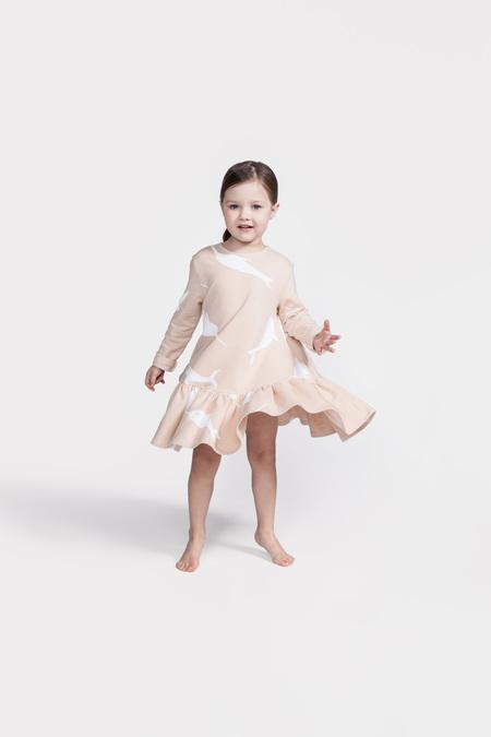 Kid's OMAMImini Drop Waist Dress w/ Big Narwhals Print Pink