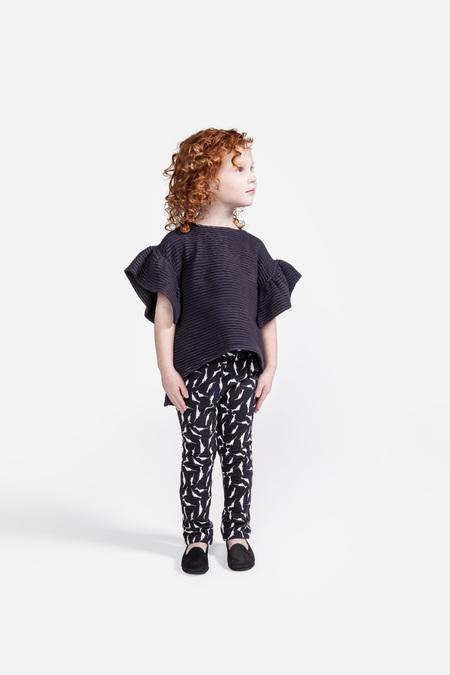 Kid's OMAMImini Ruffle Sleeve High-Low Ottoman Top Slate