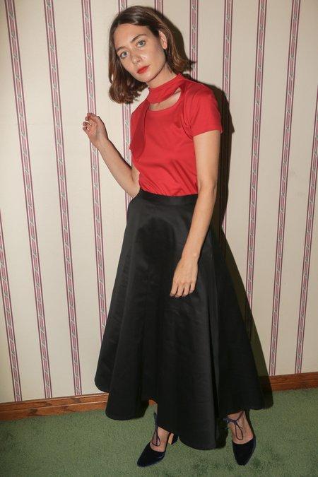 Maryam Nassir Zadeh Phoebe Tie Neck Tee in Red