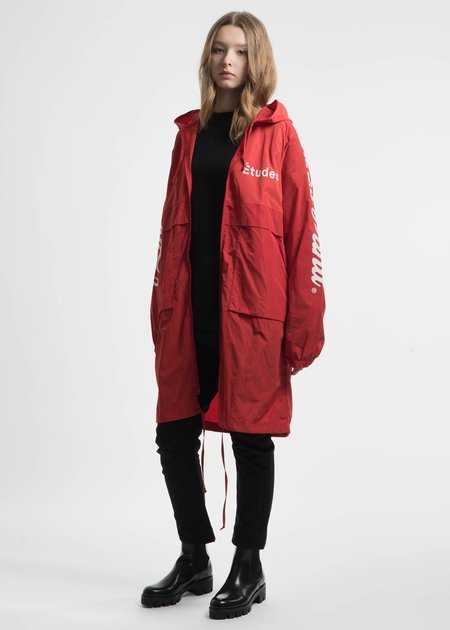 Etudes Red Memory Tech Long Hooded Windbreaker