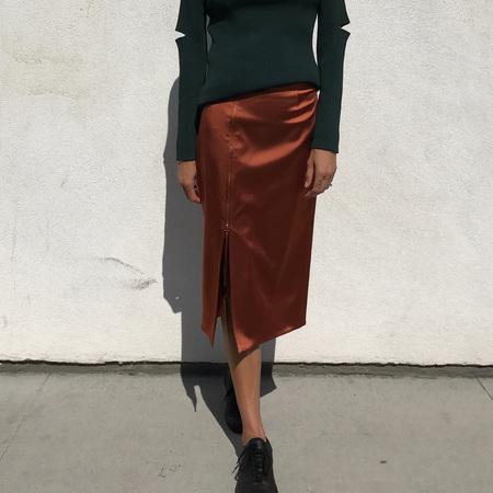 Nomia Zip Slit Skirt - Rust
