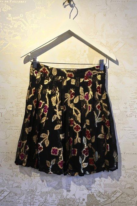 Dodo Bar Or Jenn Lurex Floral Print Pleat Mini Skirt