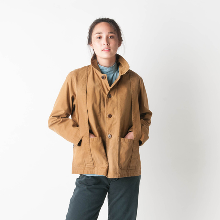 CHIMALA Selvedge Duck Norfolk Hunting Jacket in Camel