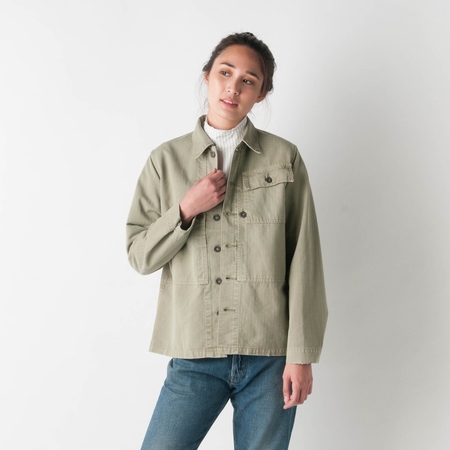 CHIMALA US Marine Corp Herringbone Jacket in Khaki Green