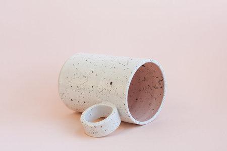 YYY Two Tone Peach/White Speckled Tall Mug