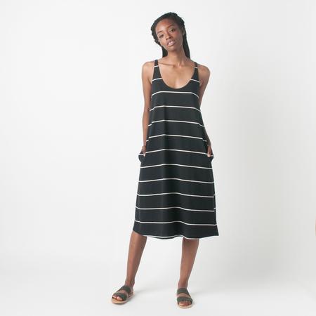 SAMUJI Long Distance Loma Dress in Black and Ecru