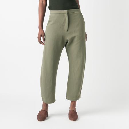 SAMUJI Fluid Linen Floella Trousers in Green