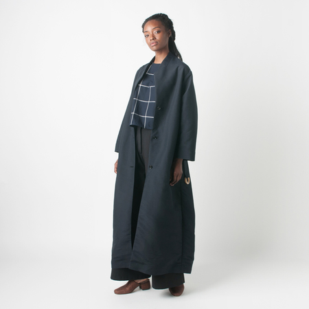 SAMUJI Wind Wei Coat in Dark Navy