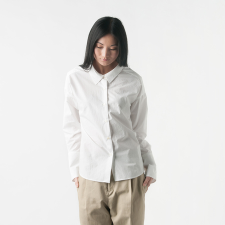 NICO Amy Button Down Shirt with Raglan Sleeves in White