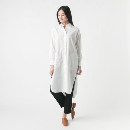 NICO Greta Cotton Button Down Shirt Dress with Pockets in White