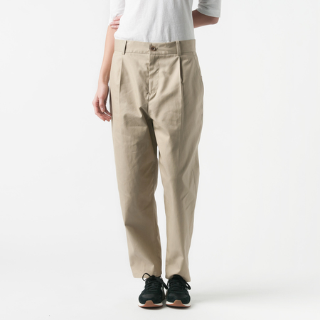 NICO Postman Front Pleat Pant with Back Patch Pocket in Beige
