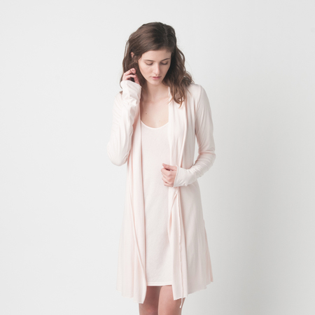 SKIN Pima Cotton Wrap Robe in Pearl Pink
