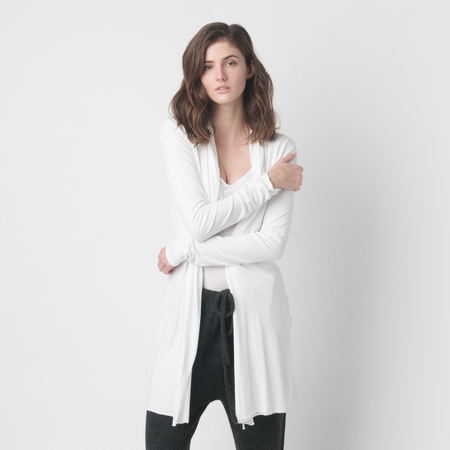 SKIN Pima Cotton Wrap Robe in White