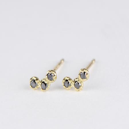 SATOMI KAWAKITA Orion Black Diamond Stud Earrings in 18K Yellow Gold