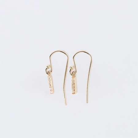 SATOMI KAWAKITA Drop White Diamond Bar Earrings in 18K Yellow Gold