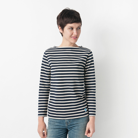 Mill Mercantile Striped Long Sleeve Tee in Marine and Ecru