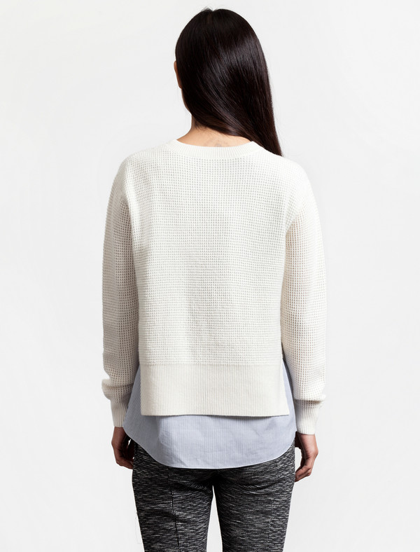 Thakoon Addition Womens Waffle Combo Pullover Ivory