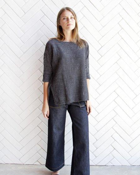 Esby Rebekah Woven Top - Black & White Stripe