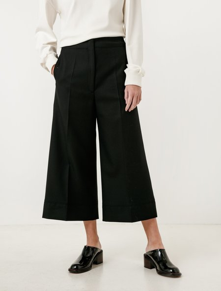 Lemaire Large Pants Cropped Black Wool