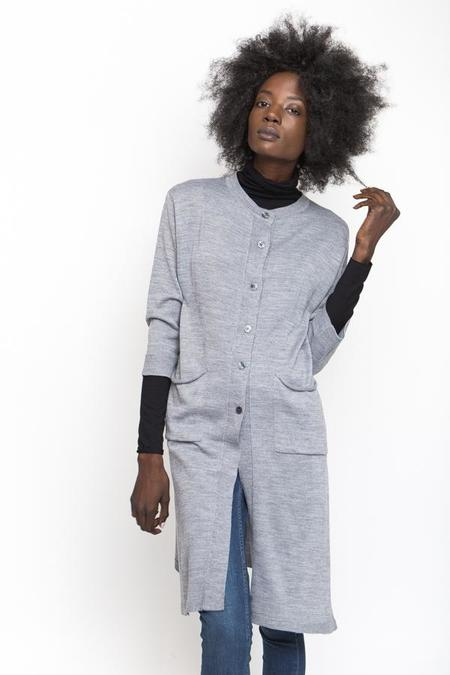 Achro Cashmere-Blend Side Slit Cardigan - Gray